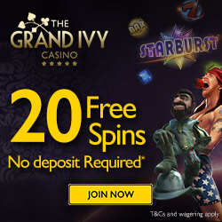 Grand Ivy Casino 20 Free Spins & €300 Bonus