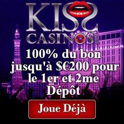 Kiss Casinos 100% Up To €100 Bonus