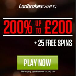 Ladbrokes Casino £10 No Deposit & 200% Bonus