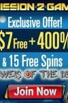 Mission2Game Casino $7 No Deposit & $2000 Bonus