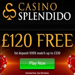 Splendido Casino 100% Up To £120 Bonus