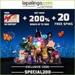 Lapalingo Casino 200% Bonus & 20 Free Spins