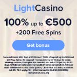 LightCasino - 200 Spins & €500 Bonus