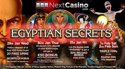 Next Casino Egyptian Secrets Calendar