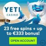 Yeti Casino – 100 Free Spins & €333 Bonus